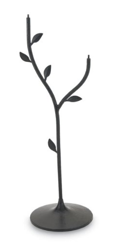 Achla BBS03 Weighted Black Iron Leaf Stand for Bird Baths with Threaded Connectors
