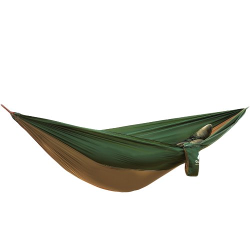 Weanas® Parachute Nylon Lightweight Portable Double Deluxe Outfitters Hammock: Assorted Bright Colors - Ideal For Camping, Backpacking, Kayaking & Travel (Brown&Green)