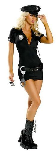 Juliet's Kiss Sexy Police Outfit Ann 5 Piece set Summers Bedroom Lingerie One Size fits UK 6-12 Includes: dress,belt,hat,badges,handcuffs.