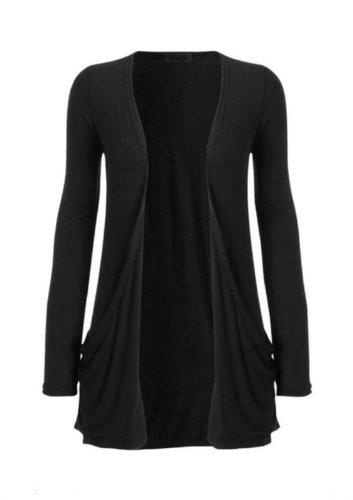 Hot Hanger Ladies Plus Size Pocket Long Sleeve Cardigan 16-26 : Color - Black : Size - 16-18 LXL