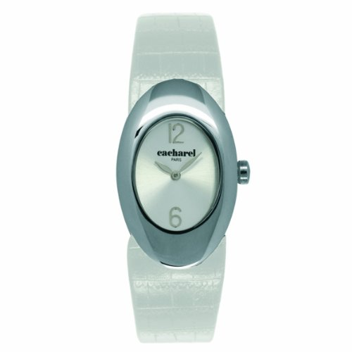 Cacharel CLD BB - 008/Women's Quartz Analogue Watch-White Leather Strap Silver Dial