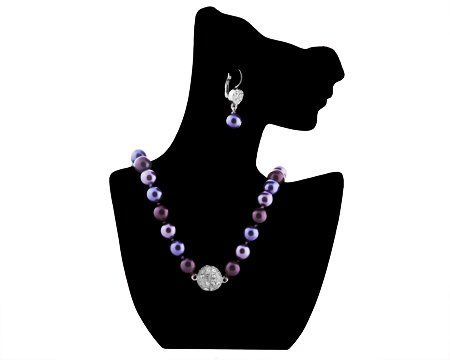 Formal Deep Purple Color Pearl Necklace &amp; Matching Earring &#8211; Eggplant, Orchid, Violet Bridesmaid Jewelry SET