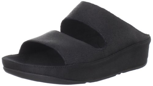 FitFlop Women's Lolla Crackle Sandal,Black,9 M US