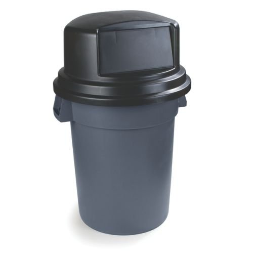 """Carlisle 34105703 Bronco Polyethylene Dome Lid, 27-1/4 X 14-1/2"""", Black, For 55-Gal. Trash Containers front-143711"""