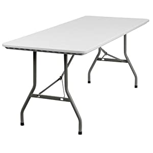 Flash Furniture RB-3072-GG 30-Inch Width by 72-Inch Length Granite Plastic Folding Table, Gray/White
