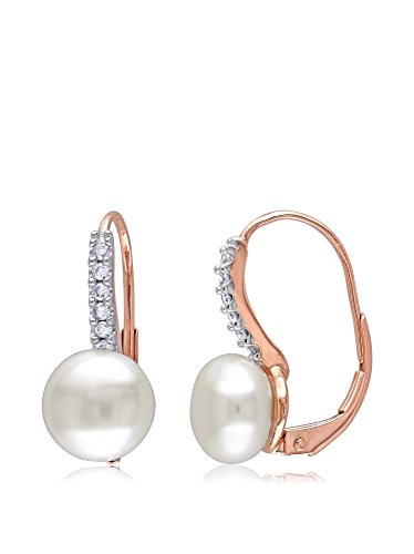 Michiko 10K Rose Gold Freshwater Cultured Pearl & 1/10-Ct. Diamond Accent Earrings