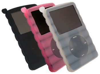 greymobiles 6 IN 1 ACCESSORY GIFT PACK FOR iPod Classic 80GB Video 30GB (Black/White/Pink Silicone Case, Screen Protector, Armband and Neck Strap)