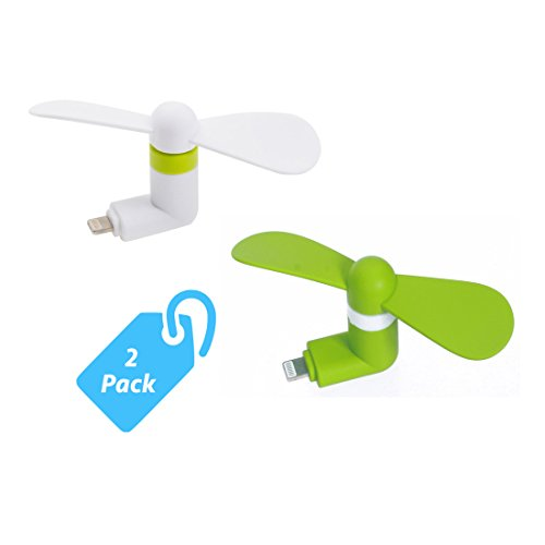 StyleTech Inc. Portable Cool Mini Rotating Fan for Apple Lighting Port Compatible with iPhone/iPods/iPad (2.) White + Green)
