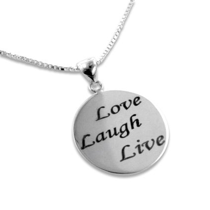 Live, Laugh, Love Inspirational Citation Sterling Silver Affirmation Pendant