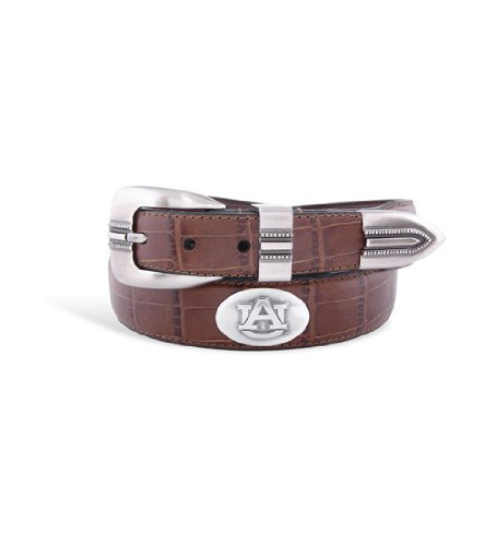 Auburn Mens Brown Croco Leather Belt with Conchos - Emblems Size: 38 Brown at Amazon.com