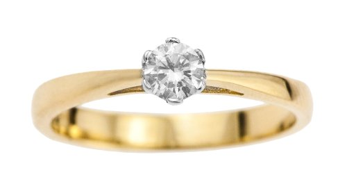 9ct Yellow Gold Diamond Engagement Ring With Round Brilliant Diamond Solitaire, 1/4 Carat Diamond Weight