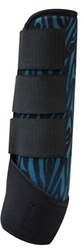 Showman Adjustable Zebra Splint Boots Leg Protection Horse Tack Velcro (Teal) front-997892