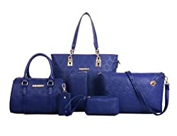Designer Blue PU / Synthetic Leather Handbags for Women, set of 6