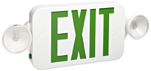 Morris Products 73042 Combo Led Exit Emergency Light, Standard Type, Green Led Color, White Housing