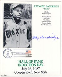 Signed Dandridge, Ray 8/12x11 Hall of Fame Induction Day Promo Card (#54/100) autographed