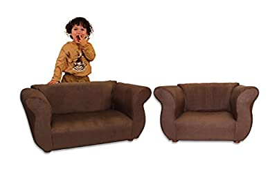 KEET Sofa and Chair Fancy Kid's Set, Brown
