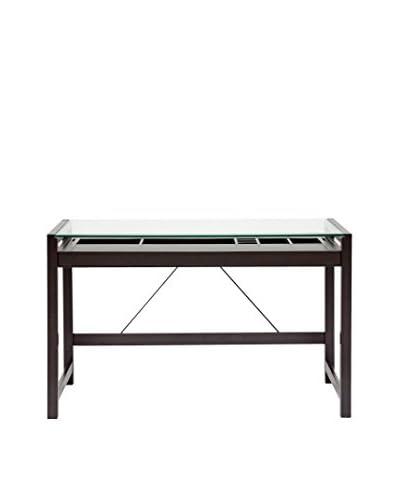 Baxton Studio Idabel Wood Desk with Glass Top, Dark Brown