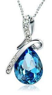 Arco Iris Eternal Love Teardrop Swarovski Elements Crystal Pendant Necklace for Women W 18k White Gold Plated Chain – Blue Topaz