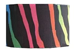 Grosgrain Ribbon Animal Print 1.5 Inch 2 yards Rainbow Zebra