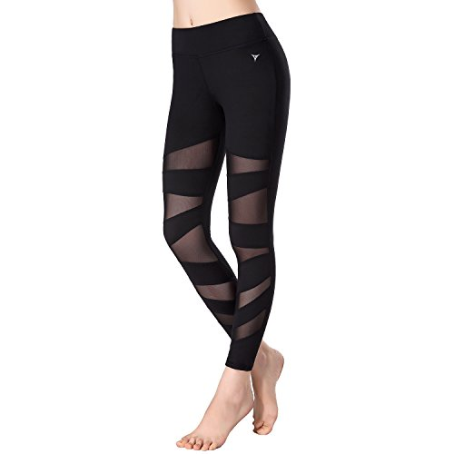 Beepeak Women's Mesh Workout Tights Gym Sports Yoga Pant Leggings L Black