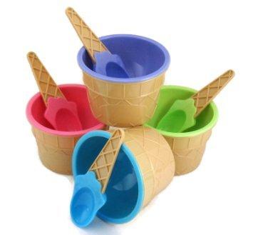 4 Motif crème glacée en coupes à glace + cuillères assorties-couleurs Pastel