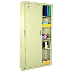 "Sliding Door Storage Cabinet 72""H Putty Paint"