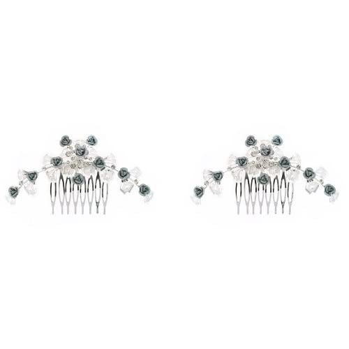 Fashion Hair Accessory ~ Gray and Silvertone Metal Flowers with Crystals Hair Comb Set of 2