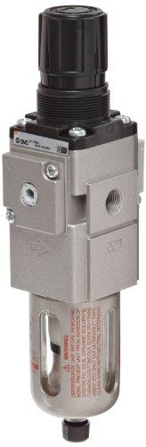 "Smc Awm30-N03E-Z Micro-Mist Filter/Regulator, Polycarbonate Bowl With Bowl Guard, 0.3 Micron, Manual Drain, Relieving Type, 7.25 - 123 Psi Set Pressure Range, 11 Scfm, Square Embedded Gauge, 3/8"" Npt"