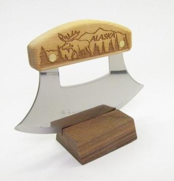 Inupiat Birch Alaska Cutlery Ulu Knife Moose In The Trees