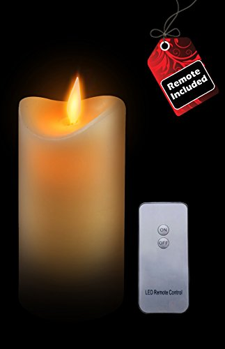 GideonTM 7 Inch Flameless LED Candle - Real Wax & Real Flickering Candle Motion - with Remote On/Off - Vanilla Scented, Ivory
