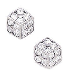14ct White Gold CZ Medium Cuboid Style Fancy Post Earrings - Measures 8x8mm