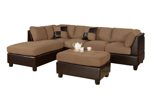 Bobkona Hungtinton Microfiber/Faux Leather 3-Piece Sectional Sofa Set, Saddle Furniture