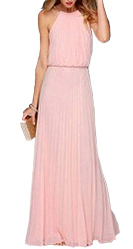 Minetom Donan Sexy O-collo senza maniche posteriore scava fuori il lungo vestito dal carro armato alla moda Boho maxi abito da sera Vestiti Da Cocktail Spiaggia ( Pink EU S )