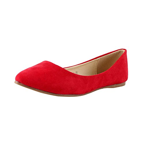 Bella marie Angie-53 Women's Classic Pointy Toe Ballet PU Slip On Suede Flats Red 6 (Red Ballet Flats For Women compare prices)
