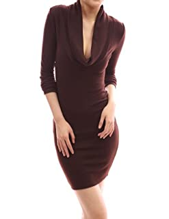 PattyBoutik Sexy Drape Cowl Neck Long Sleeve Party Knit Dress (Brown S)