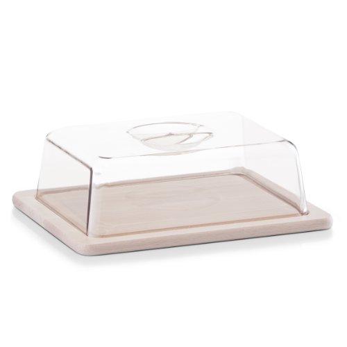 Zeller 22028 - Tabla de cortar queso de madera de haya con campana de cristal transparente (25x20x8 cm)