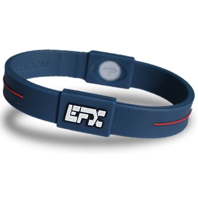 EFX Silicone Sport Wristband – 8 In. Blue with Red & White