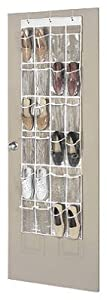 Whitmor 6046-13 Supreme Garment Care Collection Over-the-Door Shoe Organizer, Clear