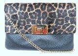 Michael Kors Large Sloan Cheetah Natural Leather Clutch Handbag