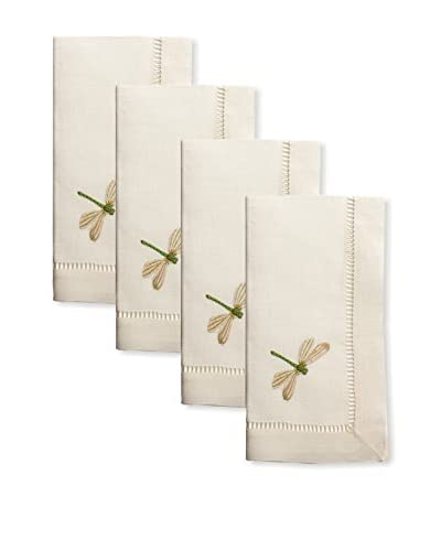 Henry Handwork Set of 4 Dragonfly Embroidered Napkins, Ivory