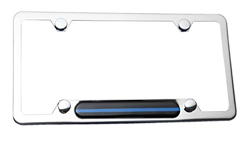 Stainless Steel Polished Mirror License Plate Frame (Thin Blue Line) for Cars, Trucks Show Support of Police and Law Enforcement Officers (License Plate Police Frame compare prices)