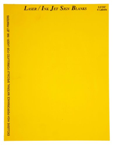 "Brady 12903 3-1/2"" Height, 5"" Width, B-744 Laser Printable Polyester, Yellow Color Sign And Label Blanks (Pack Of 25)"