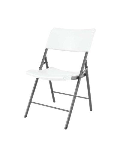Lifetime 80191 Light Commercial Folding Chair, White Granite with Gray Frame, 4-Pack