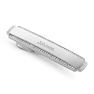 Crystal Tie Bar with complimentary Weave Texture Valet Box