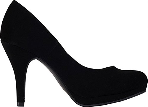 Marco Republic Rome Memory Foam Cushion Womens Low Platform Heels Comfort Pumps - (Black Nubuck) - 8.5