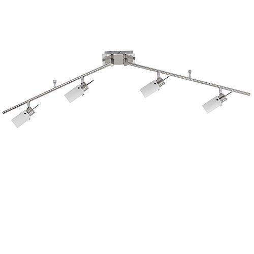LED Deckenstrahler in Nickel matt-Glas gewischt Deckenlampe inklusive GU10 4 x 4Watt , warmweiße Lichtfarbe, 3000°K und Taschenlampe aus Metall