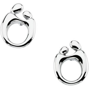 14k White Gold Mother and Child Post Earring