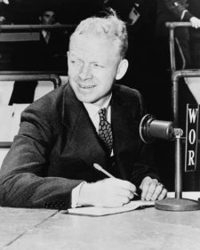 1940 Photo Red Barber Seated Behind Microphone, Vintage Black & White Photogr E3