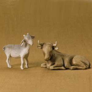Ox and Goat Nativity Figurines By Willow Tree