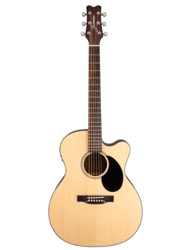 Jasmine Jo36Ce Cutaway Acoustic-Electric Guitar Bundle With Gig Bag, Tuner, Strap, Strings, Picks, And Polishing Cloth - Natural